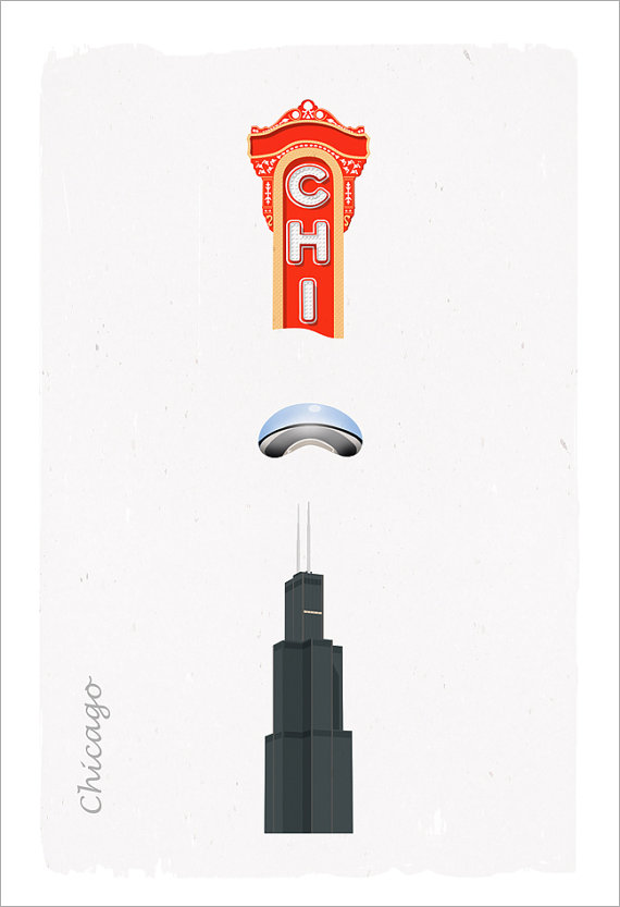 Chicago Icons 13x19 print Chicago Theater by delovelyArts.