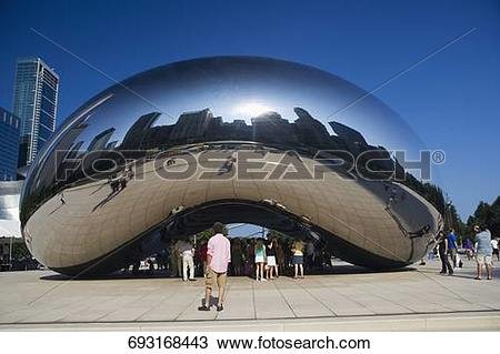 Stock Photo of Tourists watching a bean structure, The Bean, Cloud.