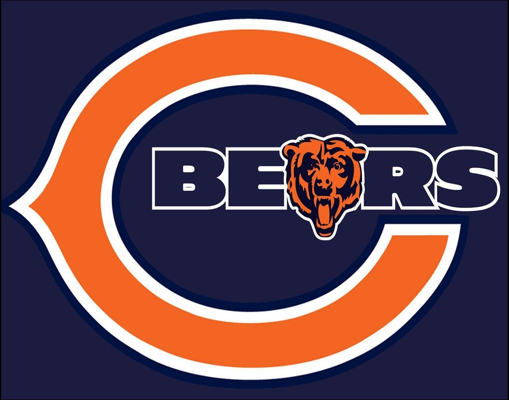 Chicago Bears Football Wall Art, Gift For Men, Blue & Orange Logo.