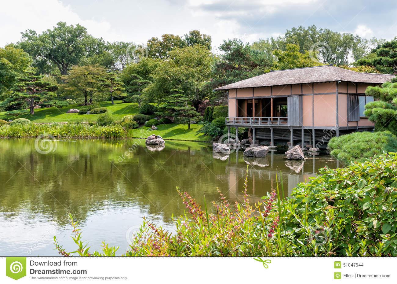 Japanese Garden Area Of Chicago Botanic Garden Stock Photo.