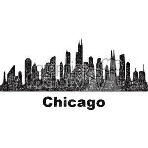 black and white city skyline vector clipart USA Chicago . Royalty.