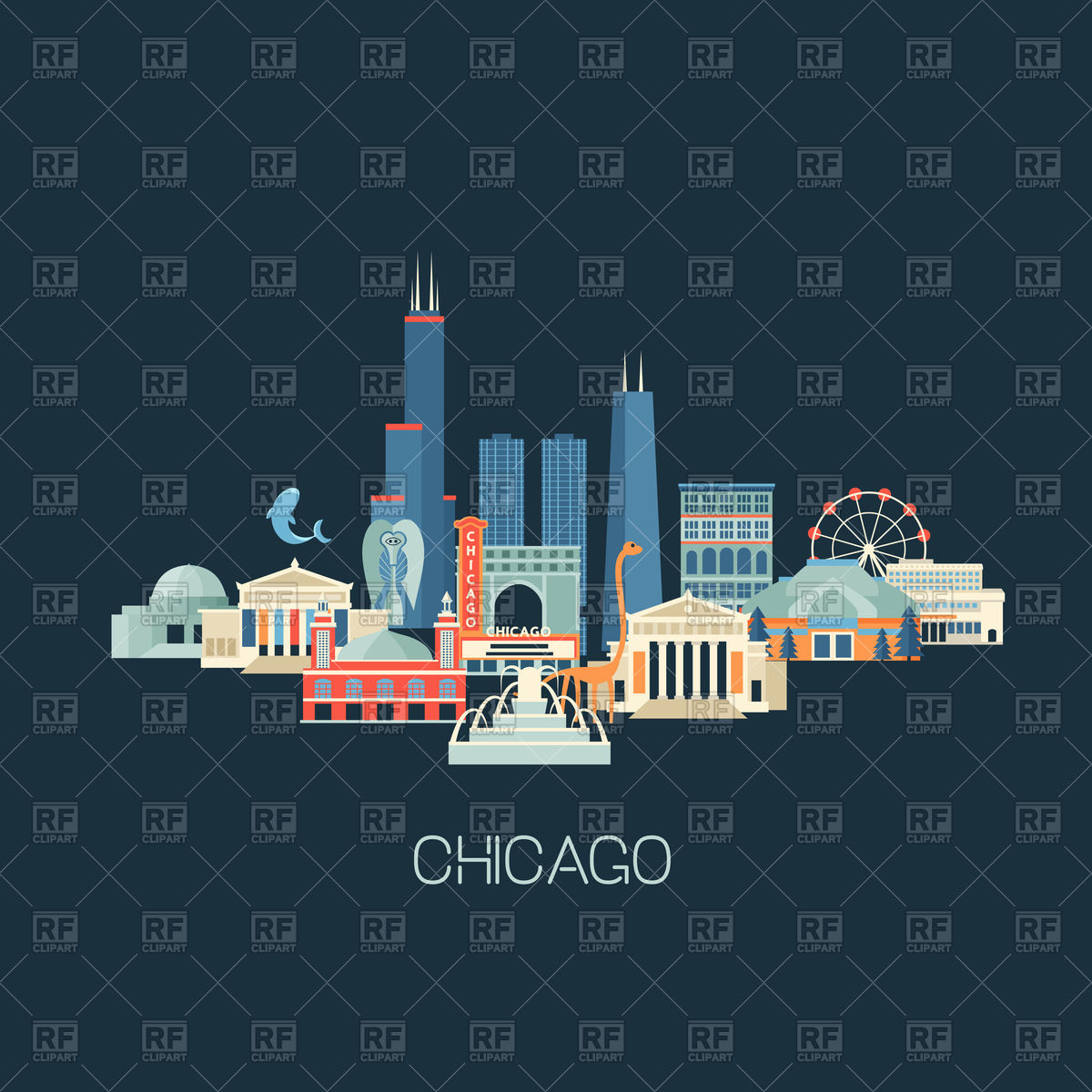 Chicago skyline with famous landmarks Stock Vector Image.