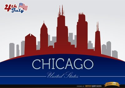 Free Chicago skyline on July 4th celebration Clipart and Vector.