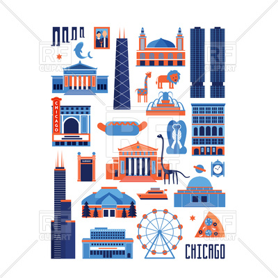 Blue and red set of Chicago famous landmarks Vector Image.