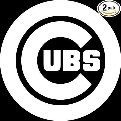 NBFU DECALS MLB Chicago Cubs Logo (White) (Set of 2) Premium Waterproof  Vinyl Decal Stickers for Laptop Phone Accessory Helmet CAR Window Bumper  Mug.