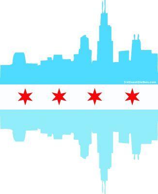 chicago flag, skyline.