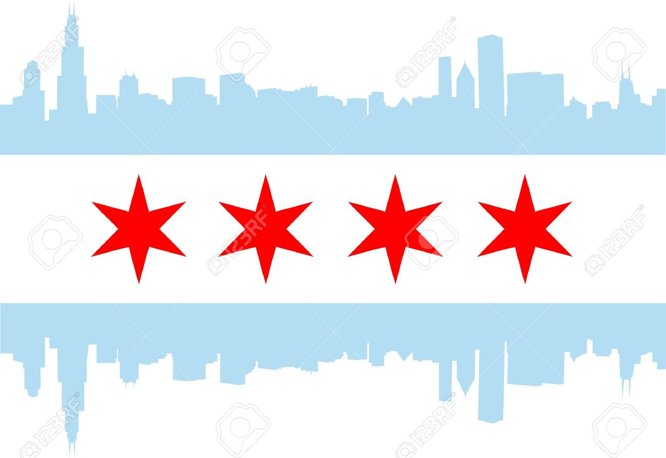 City of Chicago flag with high rise buildings skyline.