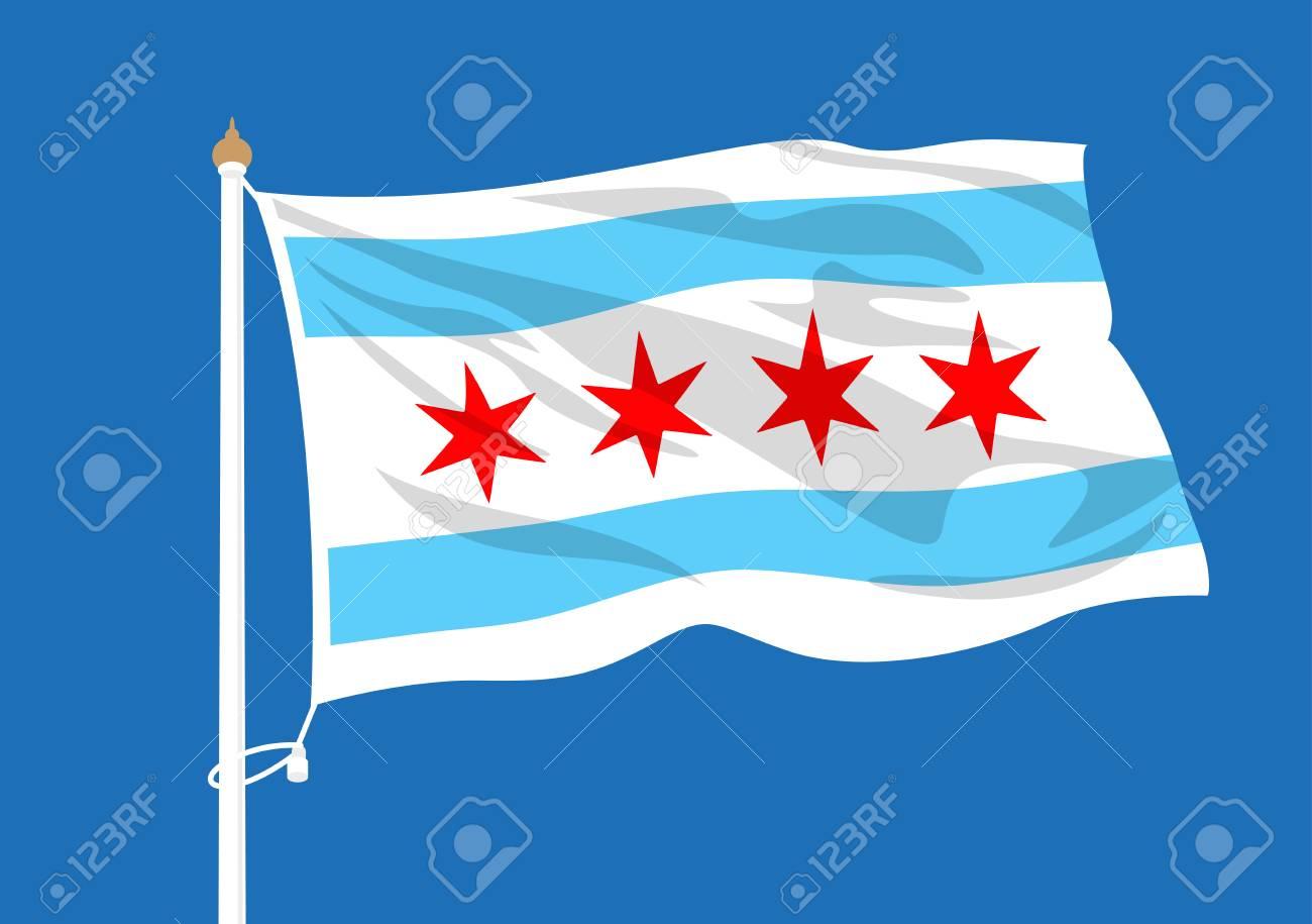 Chicago flag waving.