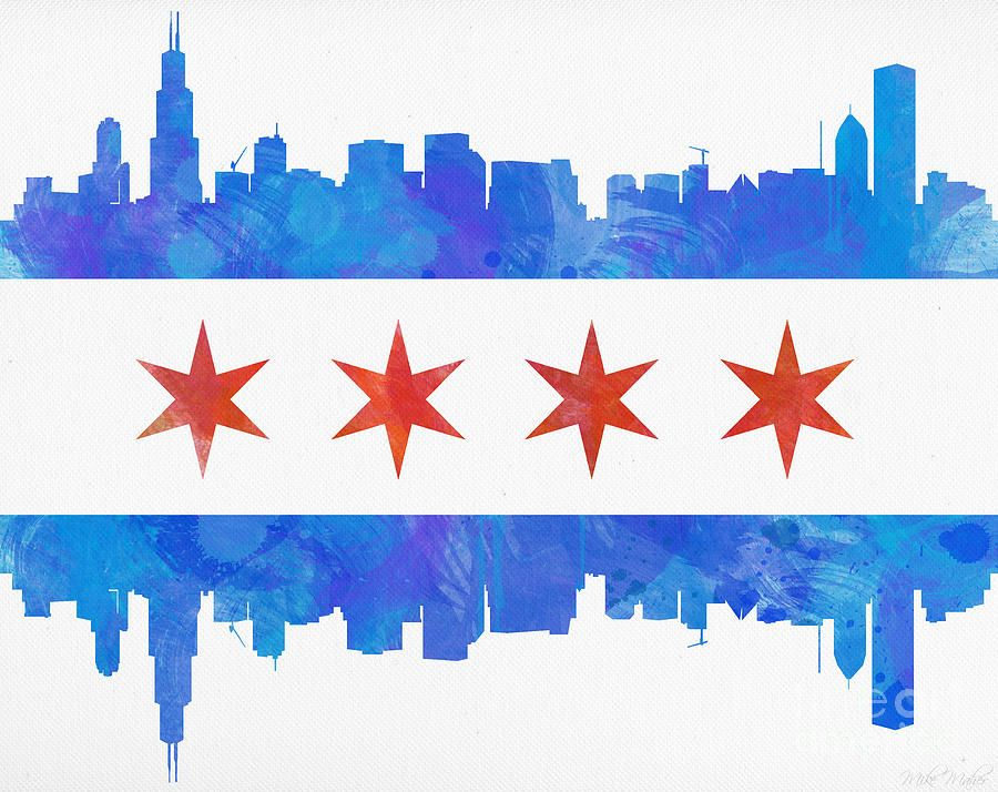 Chicago Flag Watercolor.