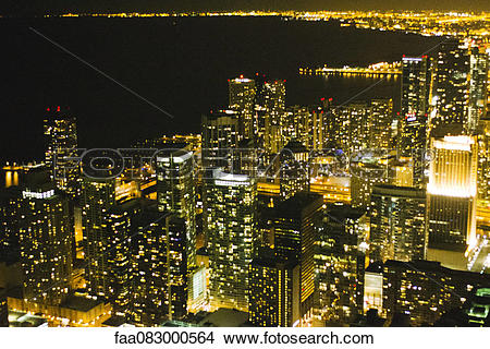 Stock Photo of Night view of Chicago from the John Hancock.