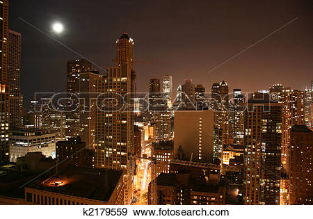 Stock Photograph of Chicago downtown aerial night view k2179559.