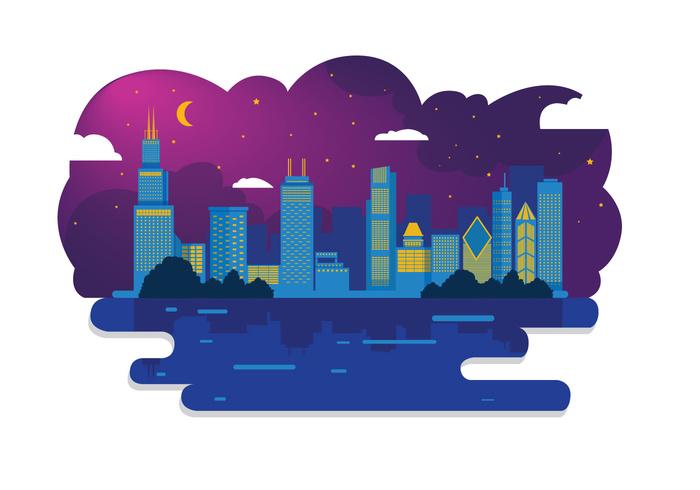 Chicago Skyline Night Vector.
