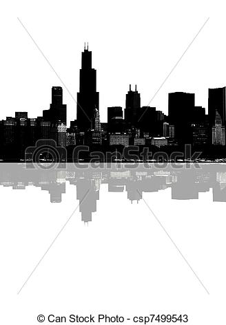 Drawings of Abstract Chicago skyline.