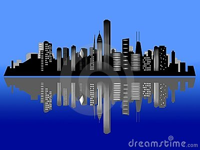Chicago Night Skyline Clipart.