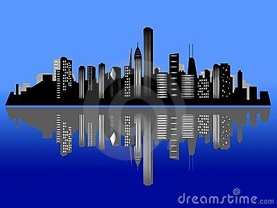 Chicago Night Skyline Clipart.