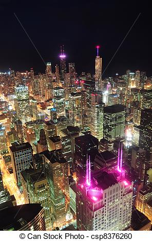 Stock Photography of Chicago night aerial view.