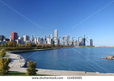 Chicago Michigan Lake Aerial Stock Images, Royalty.