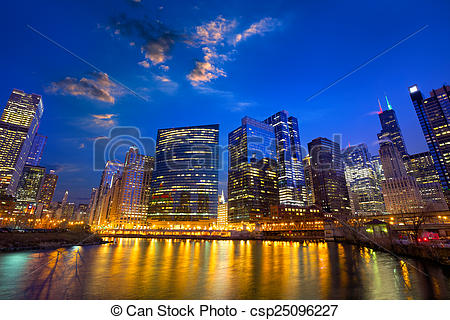 Stock Photo of Chicago River skyline.