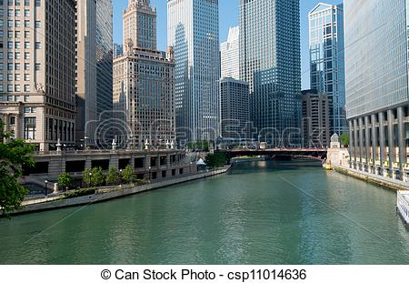 Stock Photos of Chicago River City of Chicago Illinois, USA.