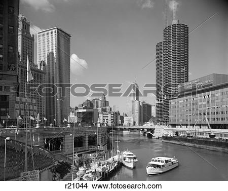 Stock Photo of 1960S 1960 Chicago River From Michigan Avenue Sun.