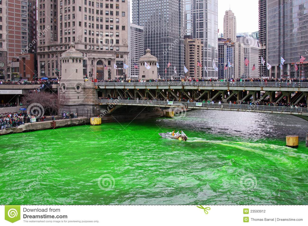 Chicago Green River Stock Photo.