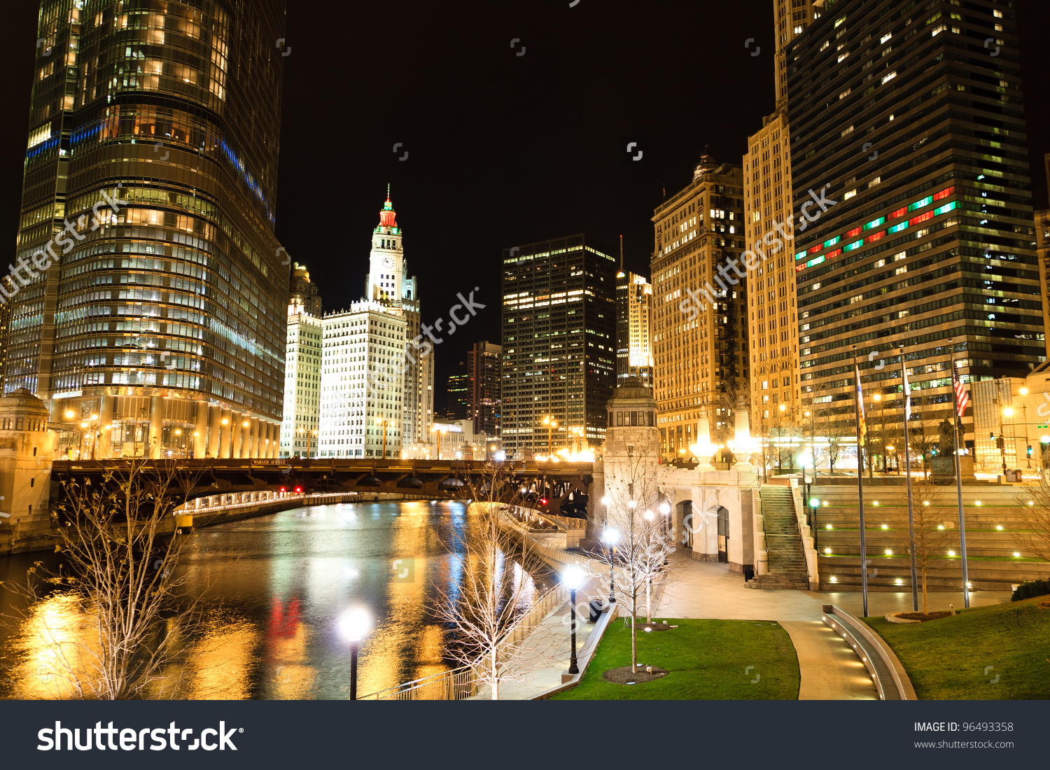 Scenic View On Chicago River Night Stock Photo 96493358.