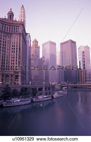 Stock Photograph of skyline, Chicago, IL, Chicago River, Illinois.