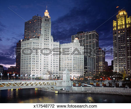 Stock Photo of USA, Illinois, Chicago, Michigan Avenue Bridge and.