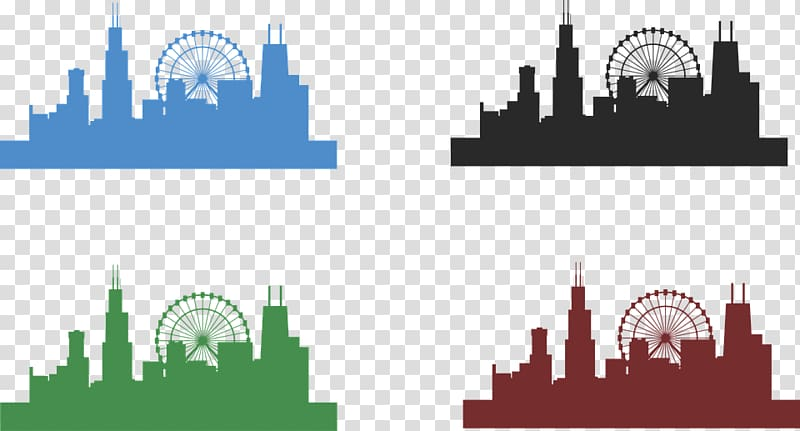 Chicago Skyline Drawing , cityscape transparent background PNG.