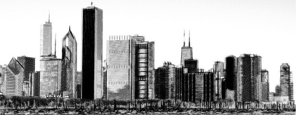 Silhouette Chicago Skyline Clipart.