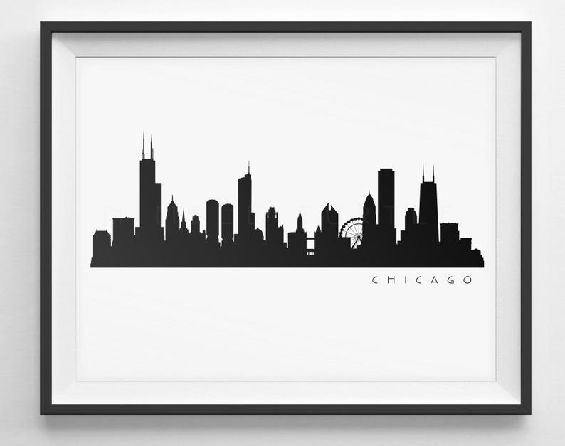 Chicago Skyline Silhouette.