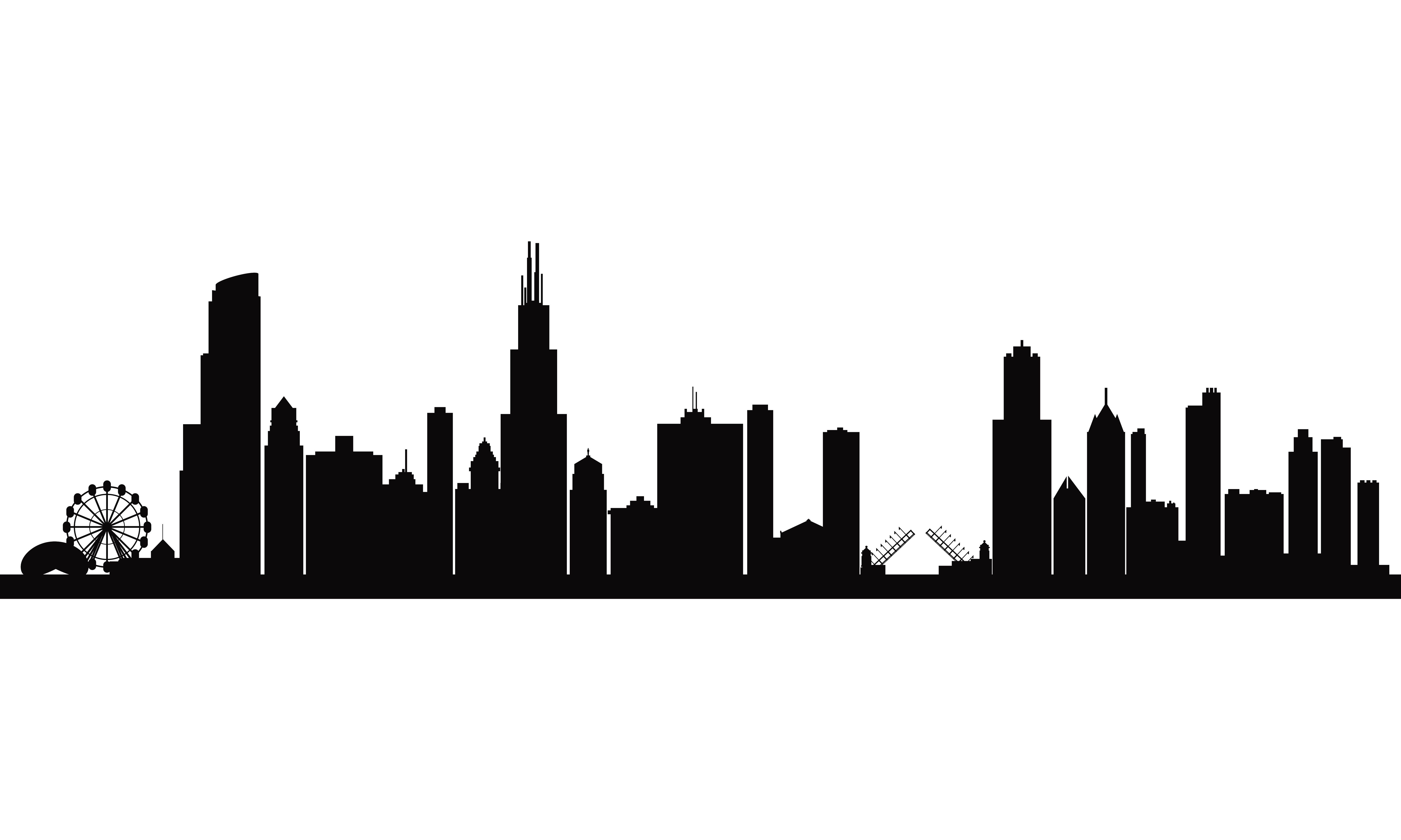 City skyline silhouette background.