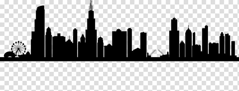 Chicago Skyline Drawing, Silhouette transparent background PNG.
