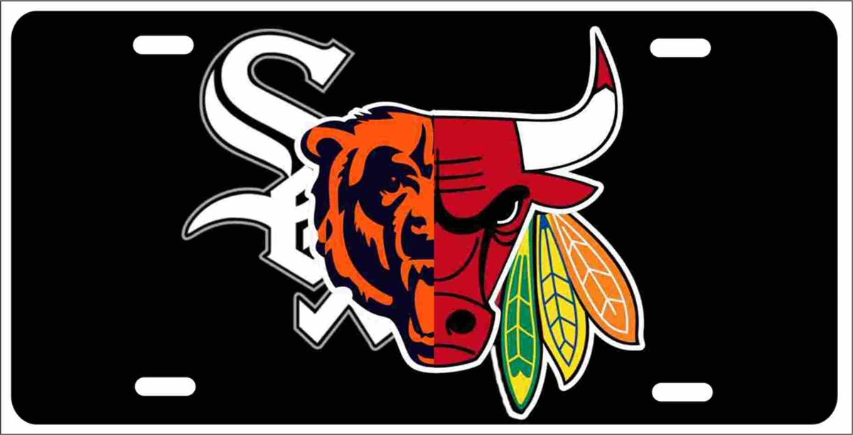 Chicago Sport Teams Combined Logo Novelty Front License Plate Decorative  Vanity Car Tag.