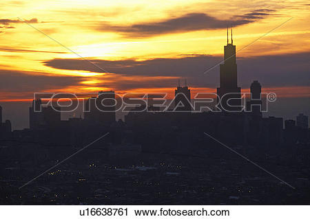 Stock Photography of John Hancock Building towers above Chicago.