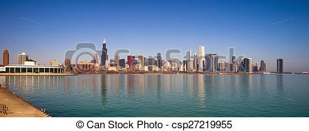 Stock Images of Sunrise Color Sky Lake Michigan Chicago Illinois.