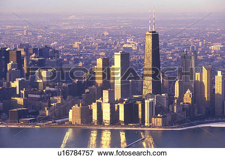 Picture of The Chicago Skyline at Sunrise, Chicago, Illinois.
