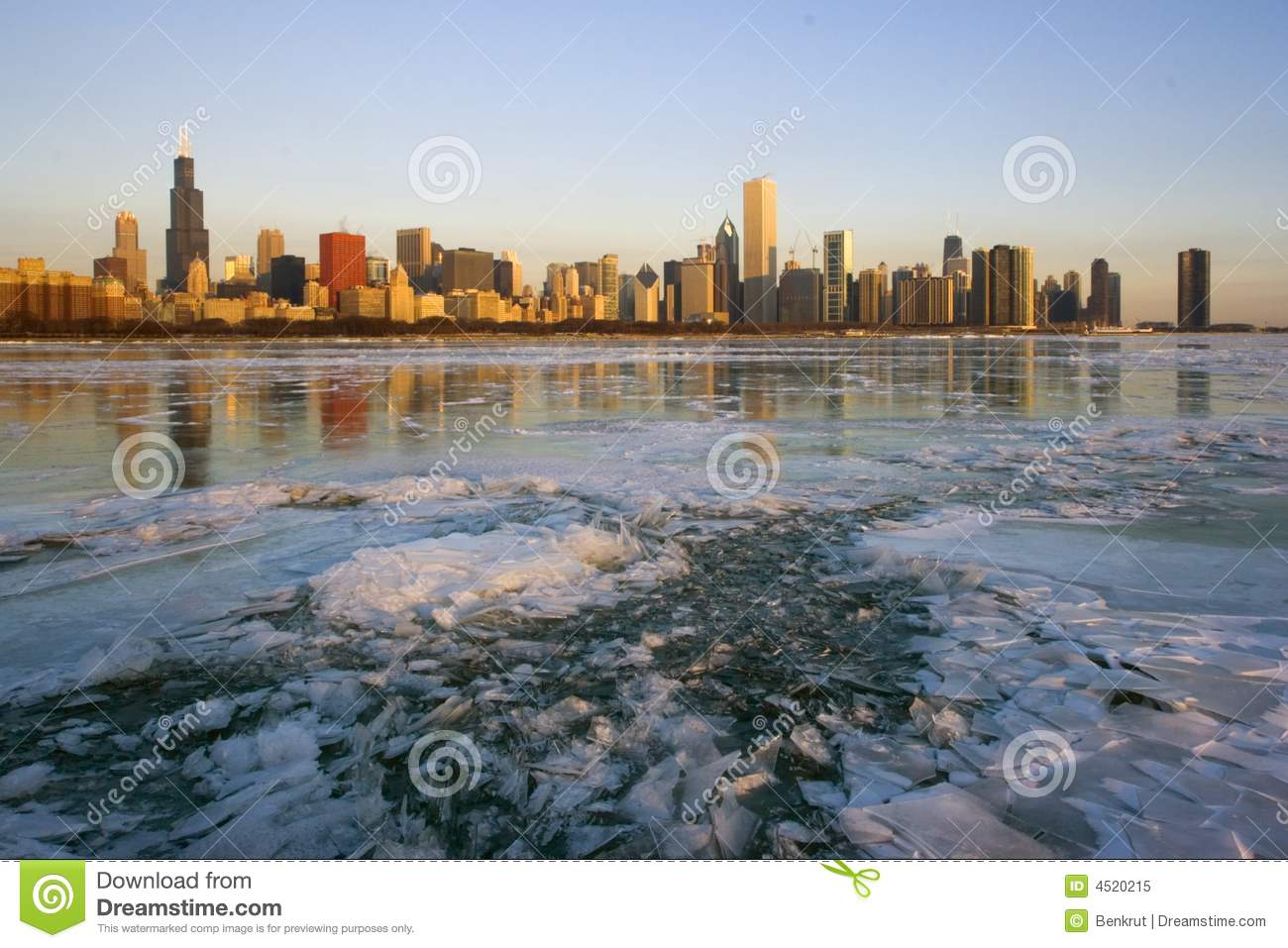 Icy Sunrise In Chicago Royalty Free Stock Photo.