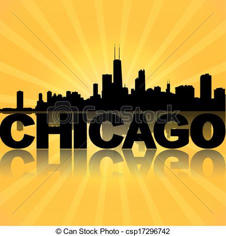 Drawing of Chicago skyline reflected with sunburst illustration.