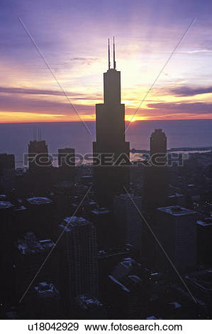 Stock Photograph of John Hancock Building towers above Chicago.