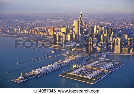 Stock Image of The Chicago Skyline at Sunrise, Chicago, Illinois.
