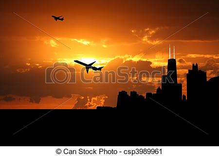 Clipart of plane departing Chicago at sunset illustration.