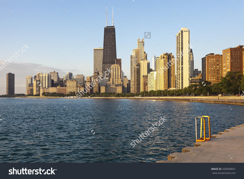 Chicago During Summer Sunrise Gold Coast Stock Photo 320936831.