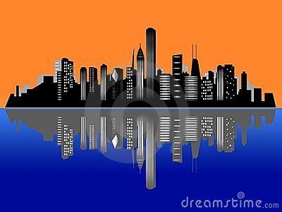 Chicago Skyline With Reflection In Water Royalty Free Stock Images.