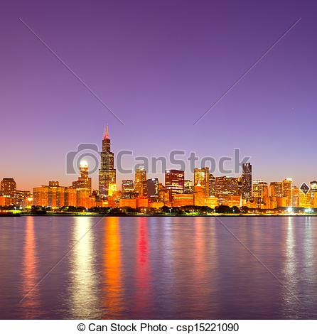 Stock Photographs of City of Chicago USA, sunset colorful panorama.