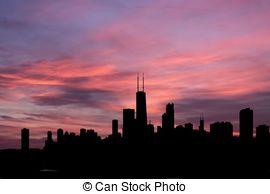 Chicago skyline at sunset Illustrations and Clipart. 21 Chicago.