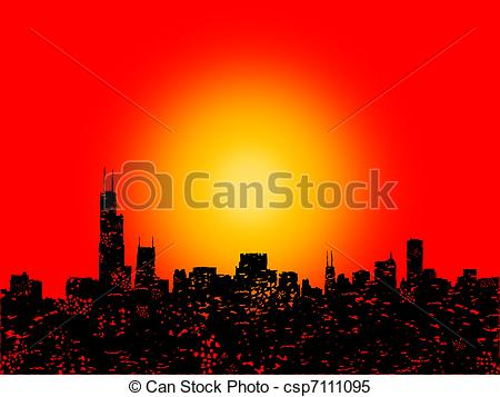 Stock Illustrations of Grunge Chicago skyline with abstract sunset.
