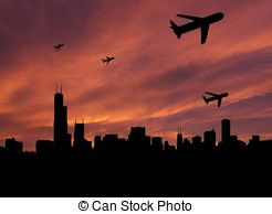 Clip Art of Chicago at sunset.