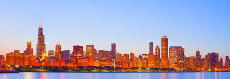 Chicago Panorama At Sunset Stock Photo.