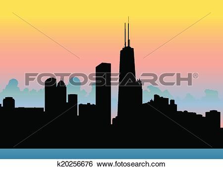 Clip Art of Chicago Skyline Sunset k20256676.